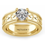 Antique Milgrain Solitaire Engagement Ring in Yellow Gold | Thumbnail 01