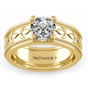 Antique Milgrain Solitaire Engagement Ring in Yellow Gold
