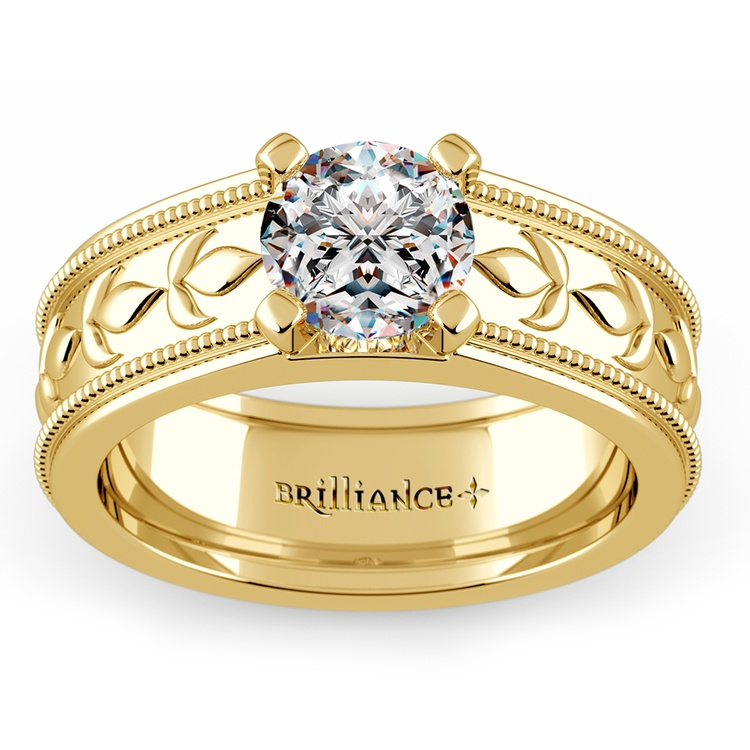 Antique Milgrain Solitaire Engagement Ring in Yellow Gold | 01