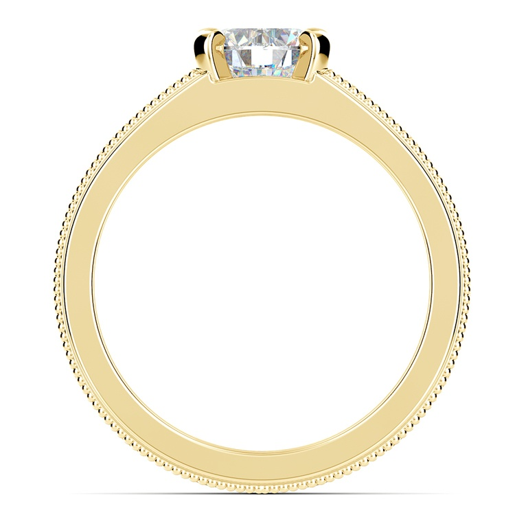 Antique Milgrain Solitaire Engagement Ring in Yellow Gold | 02