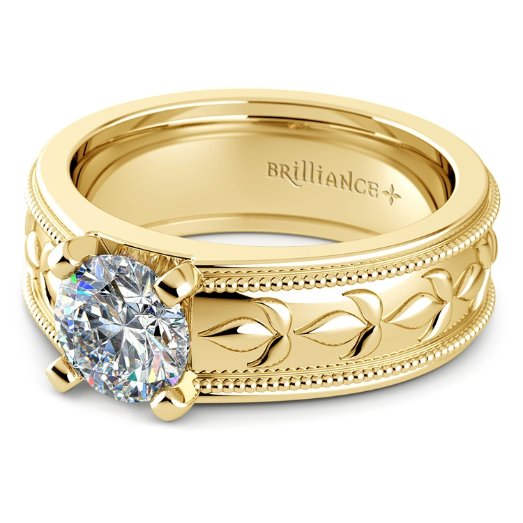 Antique Milgrain Solitaire Engagement Ring in Yellow Gold | 04