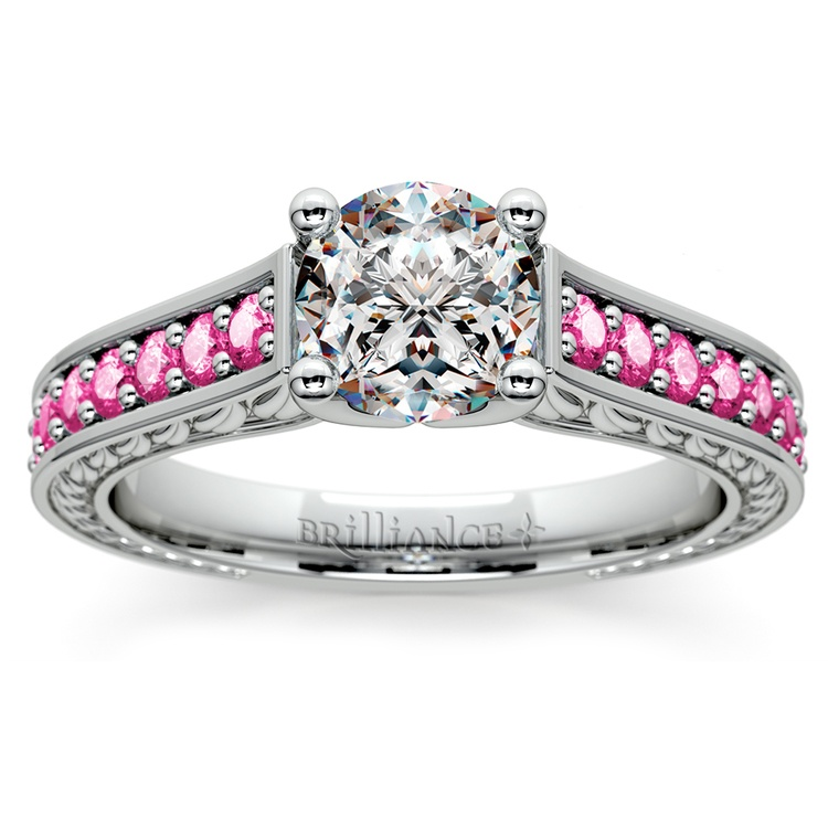 Antique Pink Sapphire Gemstone Engagement Ring in Platinum | 01