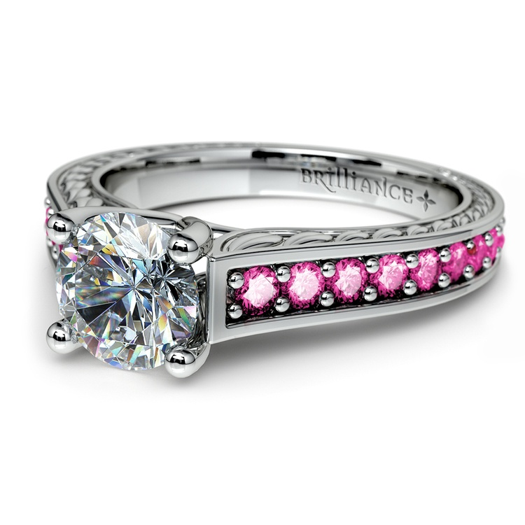 Antique Pink Sapphire Gemstone Engagement Ring in Platinum   04