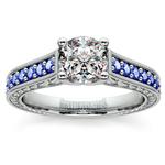 Antique Sapphire Gemstone Engagement Ring in Platinum | Thumbnail 01