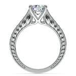 Antique Sapphire Gemstone Engagement Ring in Platinum | Thumbnail 02