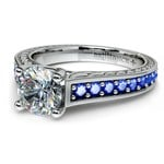 Antique Sapphire Gemstone Engagement Ring in White Gold | Thumbnail 04