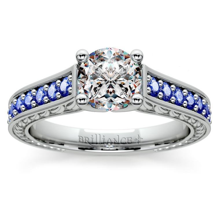 Antique Sapphire Gemstone Engagement Ring in White Gold | 01