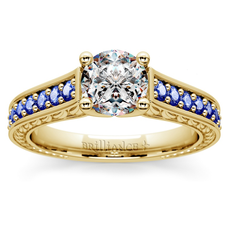 Antique Sapphire Gemstone Engagement Ring in Yellow Gold | 01