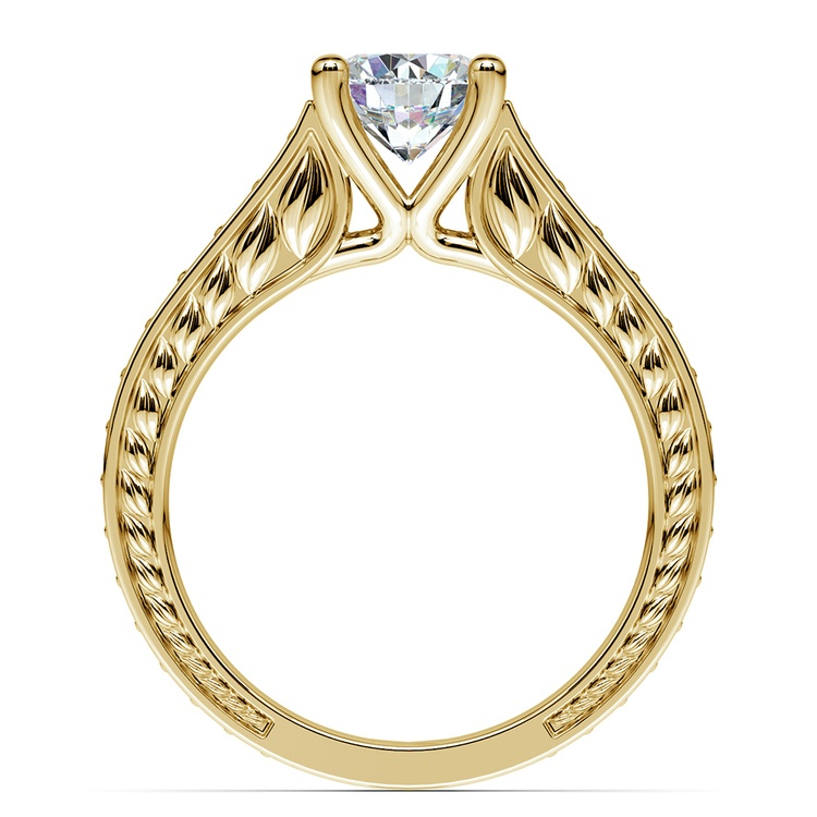 Antique Sapphire Gemstone Engagement Ring in Yellow Gold | 02