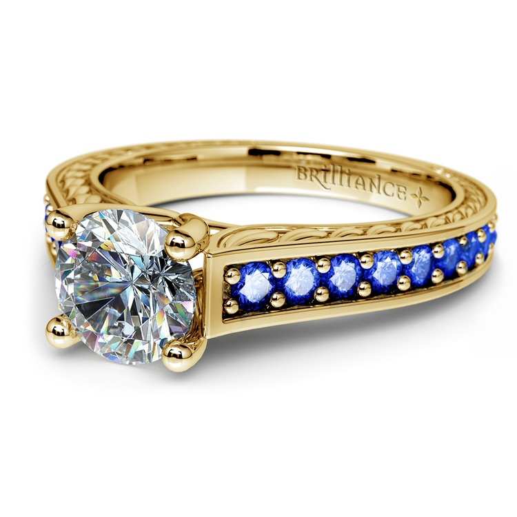 Antique Sapphire Gemstone Engagement Ring in Yellow Gold | 04