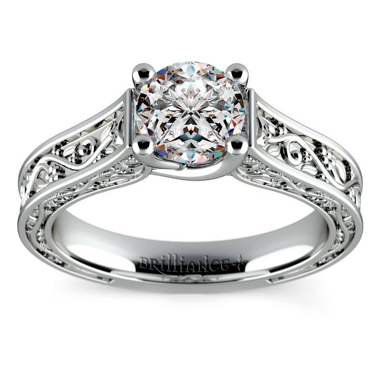 Antique Solitaire Engagement Ring in Platinum | 01