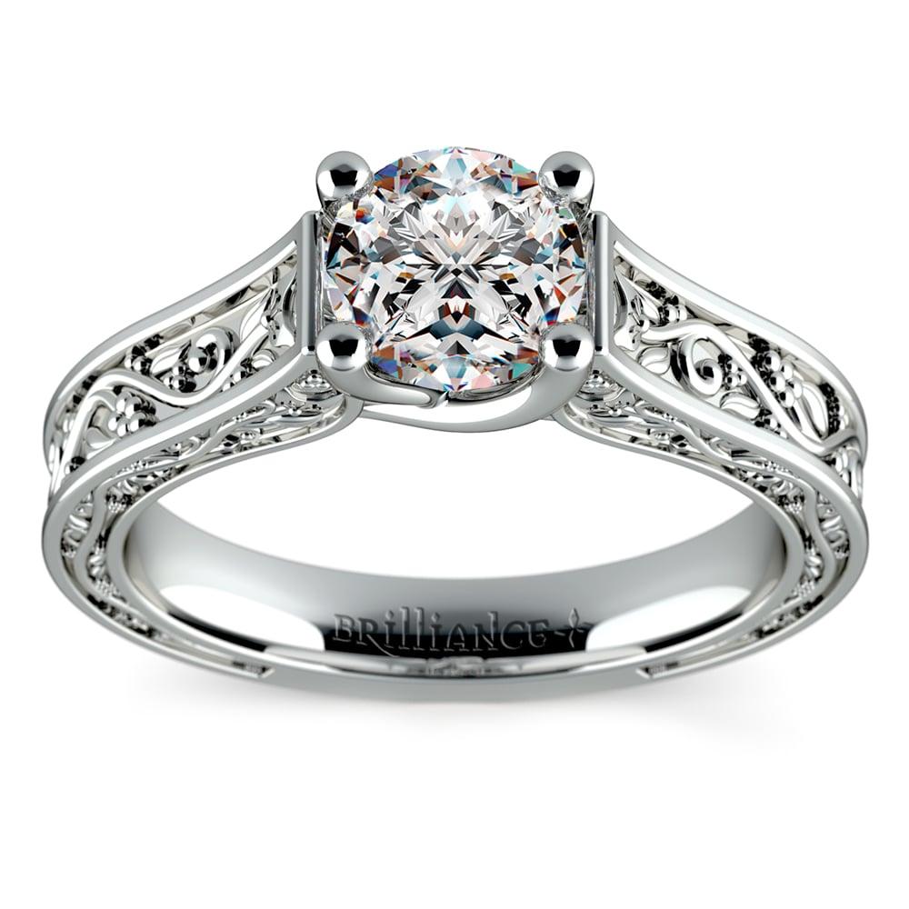 antique solitaire engagement ring in platinum