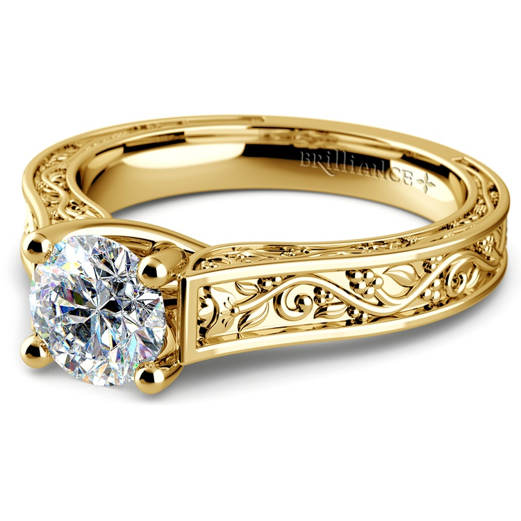 Antique Solitaire Engagement Ring in Yellow Gold | 04