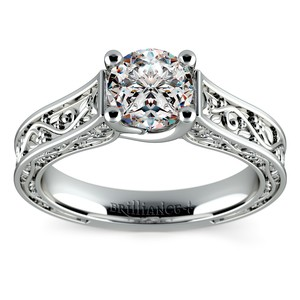 Antique Solitaire Engagement Ring in White Gold