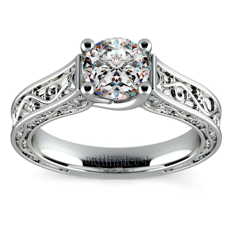 Antique Solitaire Engagement Ring in White Gold | 01