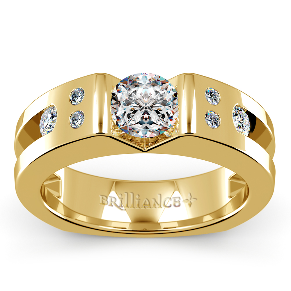 Apollo diamond mangagement ring in yellow gold 1 1 3 ctw for Men s 1 carat diamond wedding bands