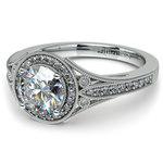 Art Deco Halo Diamond Engagement Ring in Platinum | Thumbnail 04