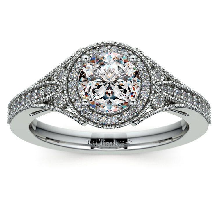 Art Deco Halo Diamond Engagement Ring in Platinum | 01