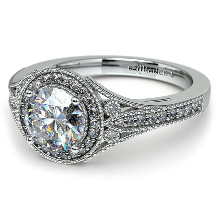 Art Deco Halo Diamond Engagement Ring in Platinum | 04
