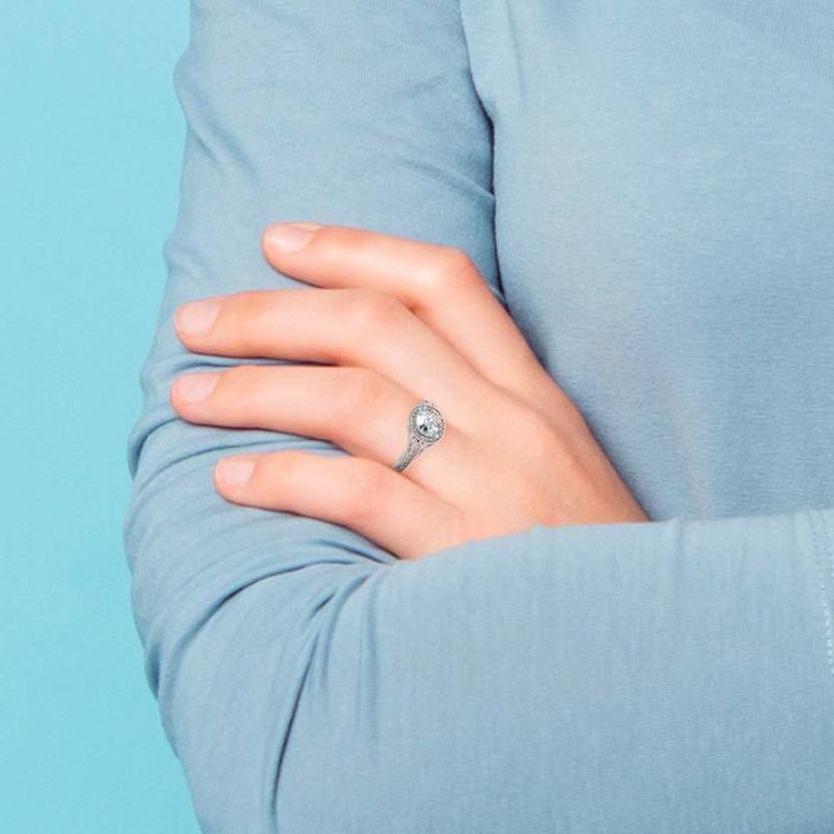 Art Deco Halo Diamond Engagement Ring in Platinum   07