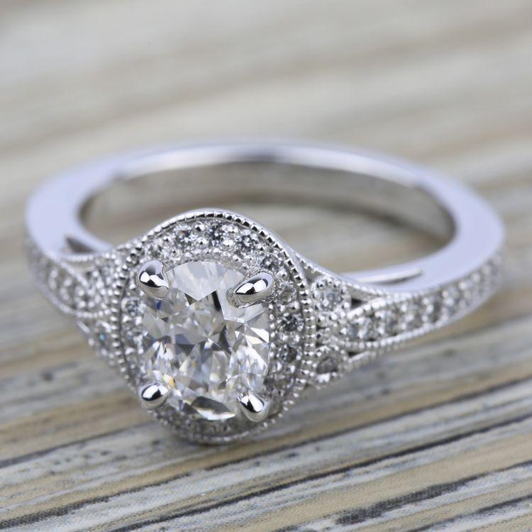 Art Deco Halo Diamond Engagement Ring in Platinum | 05