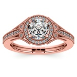 Art Deco Halo Diamond Engagement Ring in Rose Gold | Thumbnail 01