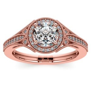 Art Deco Halo Diamond Engagement Ring in Rose Gold