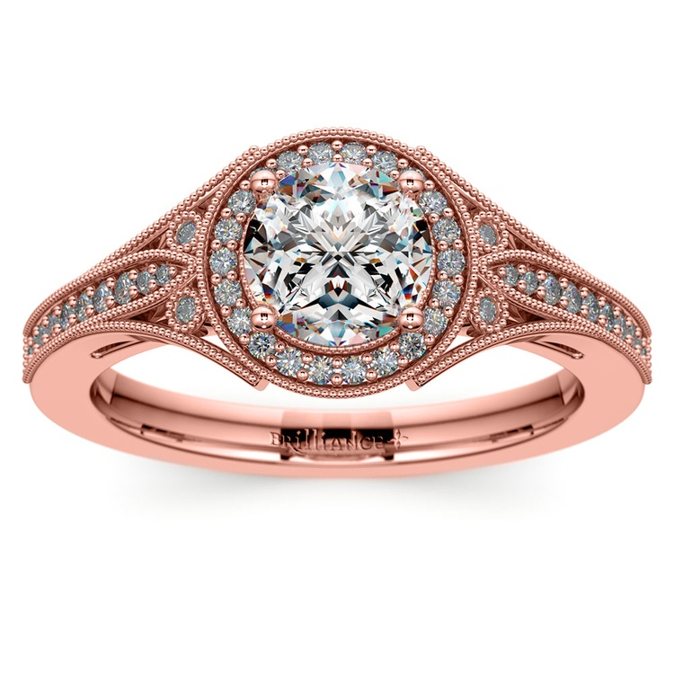 Art Deco Halo Diamond Engagement Ring in Rose Gold | 01