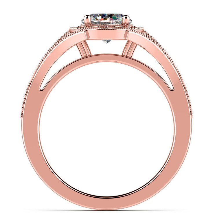 Art Deco Halo Diamond Engagement Ring in Rose Gold | 02