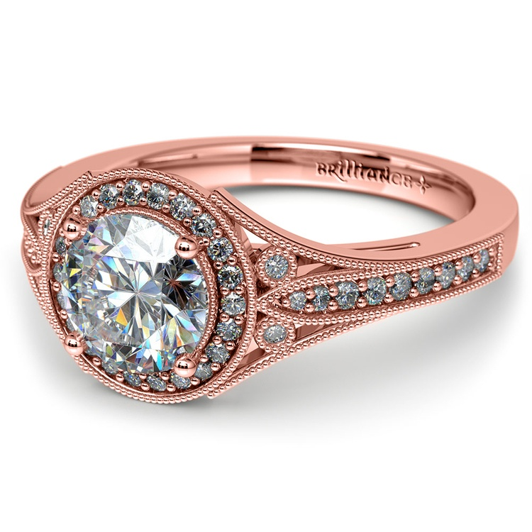 Art Deco Halo Diamond Engagement Ring in Rose Gold | 04