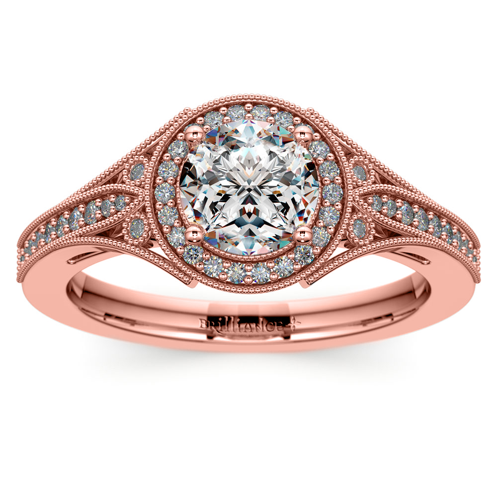 art deco halo diamond engagement ring in rose gold. Black Bedroom Furniture Sets. Home Design Ideas