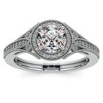 Art Deco Halo Diamond Engagement Ring in White Gold | Thumbnail 01
