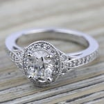 Art Deco Halo Diamond Engagement Ring in White Gold | Thumbnail 05
