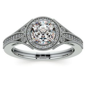 Art Deco Halo Diamond Engagement Ring in White Gold