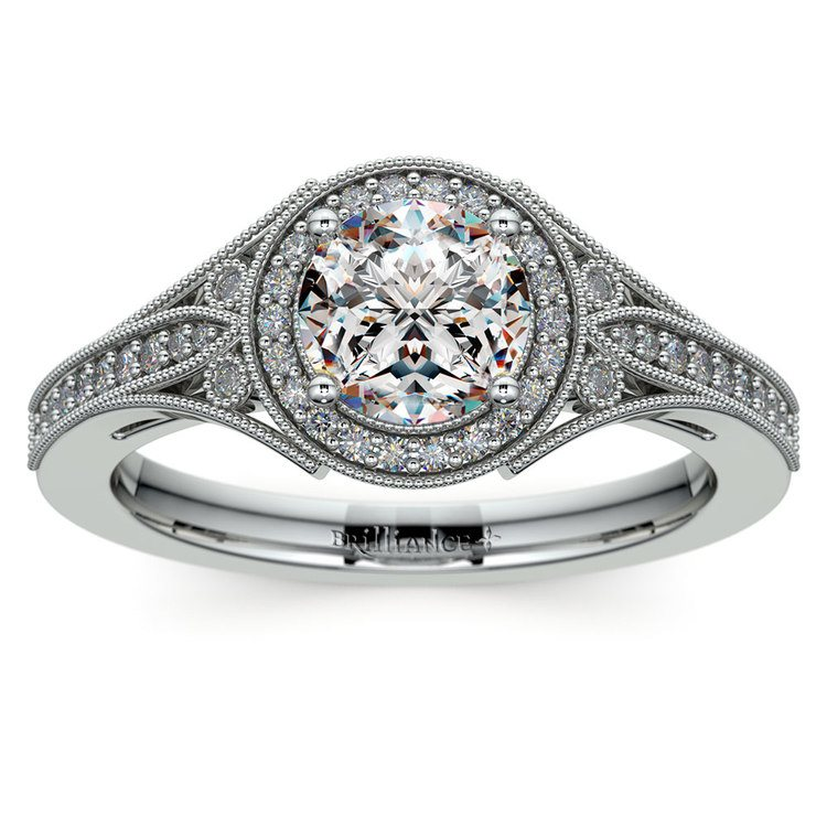 Art Deco Halo Diamond Engagement Ring in White Gold   01