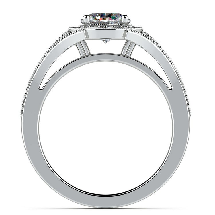 Art Deco Halo Diamond Engagement Ring in White Gold   02