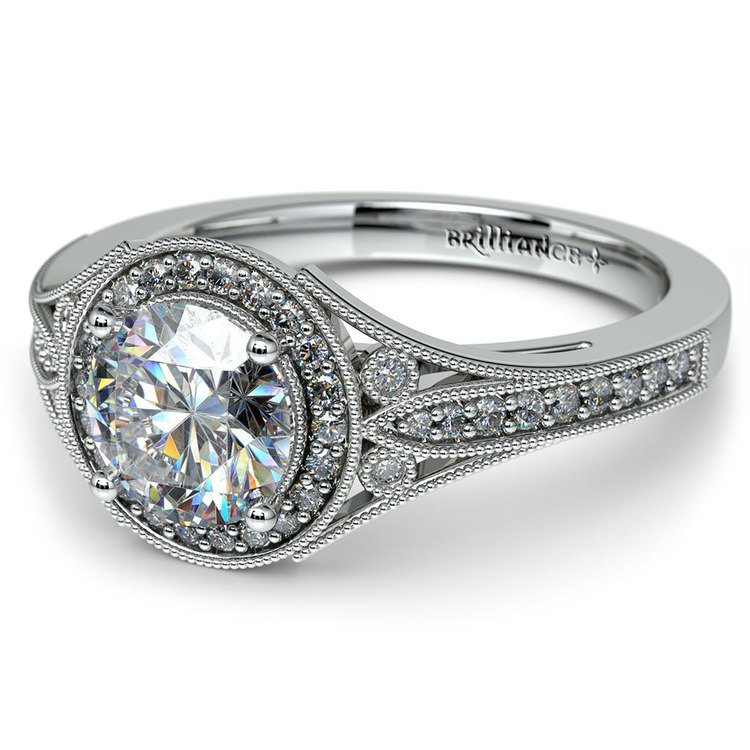 Art Deco Halo Diamond Engagement Ring in White Gold   04