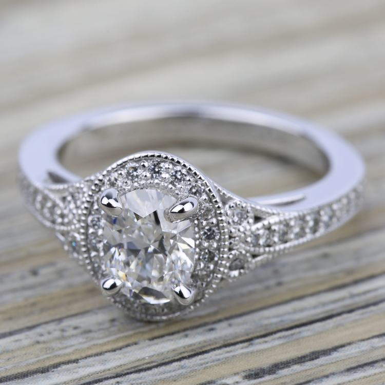 Art Deco Halo Diamond Engagement Ring in White Gold   05