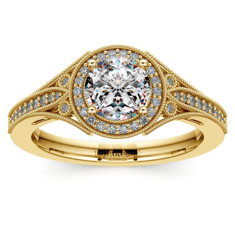 Art Deco Halo Diamond Engagement Ring in Yellow Gold | 01