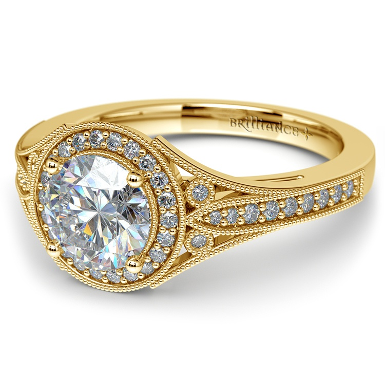 Art Deco Halo Diamond Engagement Ring in Yellow Gold | 04