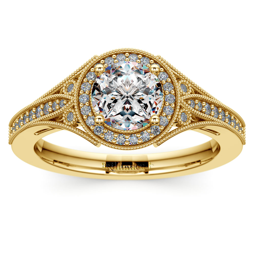 Art Deco Halo Diamond Engagement Ring In Yellow Gold