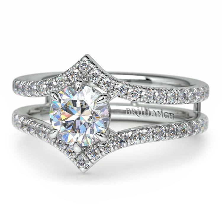 Art Nouveau Engagement Ring in Platinum | 04