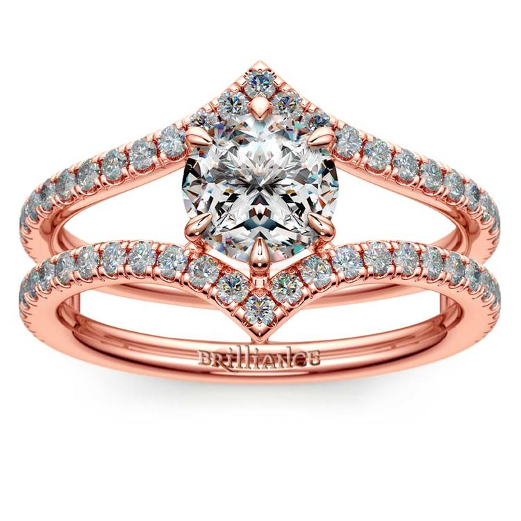 Art Nouveau Engagement Ring In Rose Gold    01