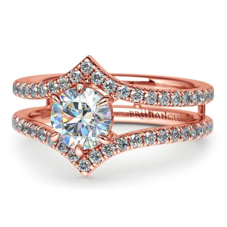 Art Nouveau Engagement Ring In Rose Gold    04