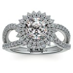 Asymmetric Sunburst Diamond Halo Engagement Ring In Platinum | Thumbnail 01