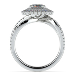 Asymmetric Sunburst Diamond Halo Engagement Ring In Platinum | Thumbnail 02