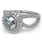 Asymmetric Sunburst Diamond Halo Engagement Ring In Platinum | Thumbnail 04
