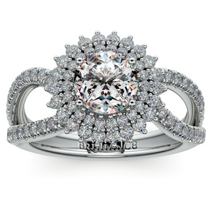 Asymmetric Sunburst Diamond Halo Engagement Ring In Platinum