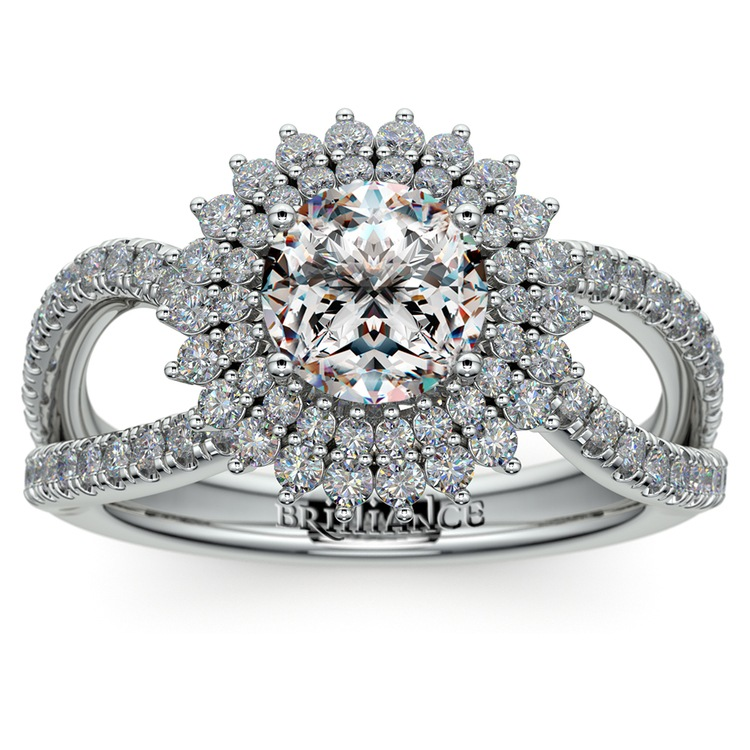 Asymmetric Sunburst Diamond Halo Engagement Ring In Platinum | 01