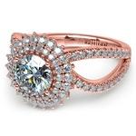 Asymmetric Sunburst Diamond Halo Engagement Ring In Rose Gold | Thumbnail 04
